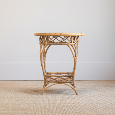 Antique Rattan Round Side Table