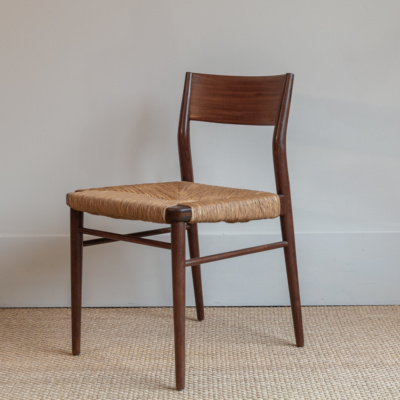 Antique Wood & Rush Dining Chair