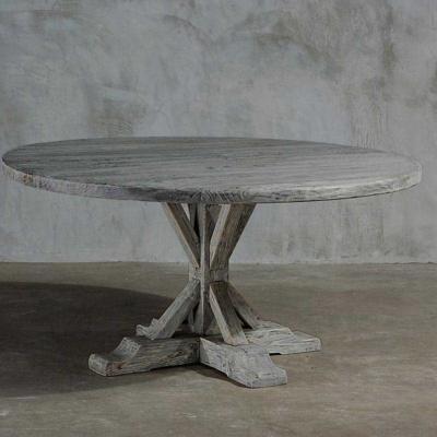 Reclaimed Elm Plank Table - Trestle Leg 17