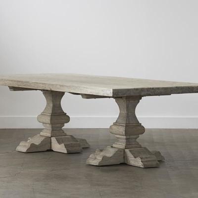 Reclaimed Elm Plank Table - Pedestal Leg 9