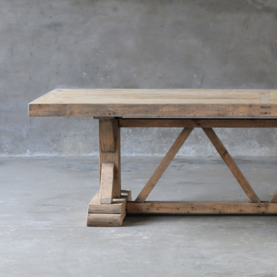 Salvaged Wood Trestle Table - 7 foot 17