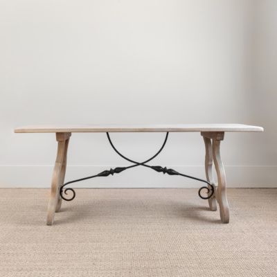 Oak Table with Metal Stretcher