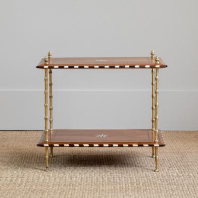 Wood Inlay Tier Table