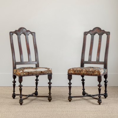 Wood Tapestry Chair (Pair)